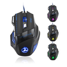 ZELOTES Gaming Mouse 5500DPI 7 Button LED Optical USB Wired Gaming Mouse Mice For Pro Gamer Mouse USB For Mac For Laptop #201
