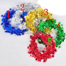 Free shipping Holiday decorations 10 meters, wrought iron five-pointed star hanging ribbon color bar Garland party decoration
