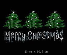 Free Shipping  nice merry christmas ion on Rhinestone transfer designs iron on transfer hot fix rhinestone motif