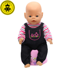 Baby Born Doll Clothes Fit 43cm Zapf Baby Born Doll Long-sleeved Striped Jumpsuit Suit Accessories Children Birthday Gifts T-1(China)
