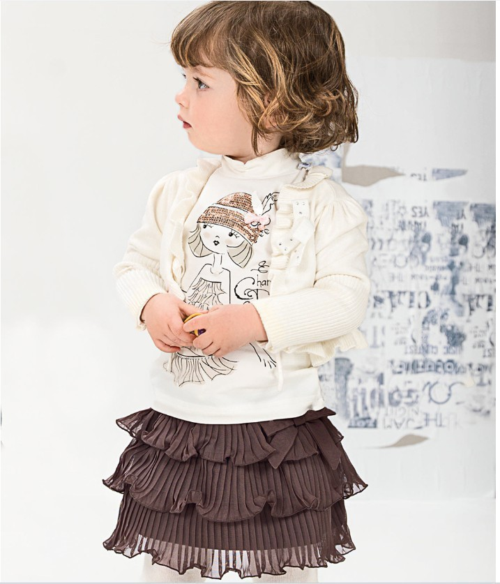Kids Clothes Sets Retail Cute Girl Pattern Spring And Autumn Girls Three-piece (shawl + Shirt Skirt) Free Shipping (in Stock)<br><br>Aliexpress