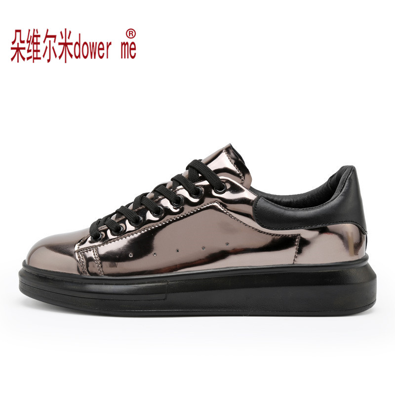 2017 Unisex Fashion Spring Shoes New Glossy High Quality Breathable Men Casual Shoes Mens Spring Bling Lace-Up Lovers Shoes<br><br>Aliexpress