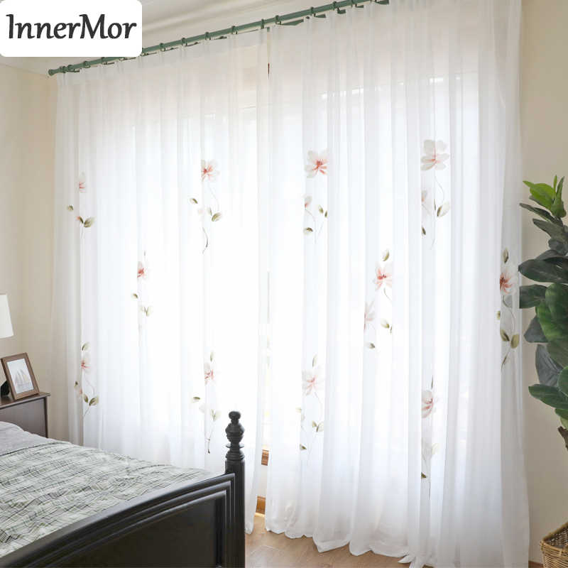 Innermor France painting Curtains For Living room Hand Painted noble curtains for bedroom elegant tulle for kitchen Customized