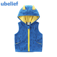 ubelief baby boy hoodie vest print waistcoat children hoodies vests warm jacket kids girls hoodies set