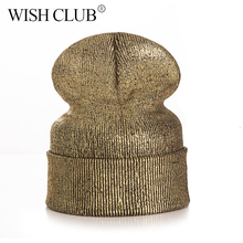 WISH CLUB New Design Metal Color Personality Beanies Women Men Winter Hat Warm Knitted Ski Hats For Women Sport Unique Cap(China)