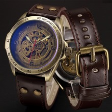 Mens Steampunk Skeleton Automatic Mechanical Watches Retro Bronze Antique Leather Self Widing Wrist Watch Clock Men Wristwatches(China)
