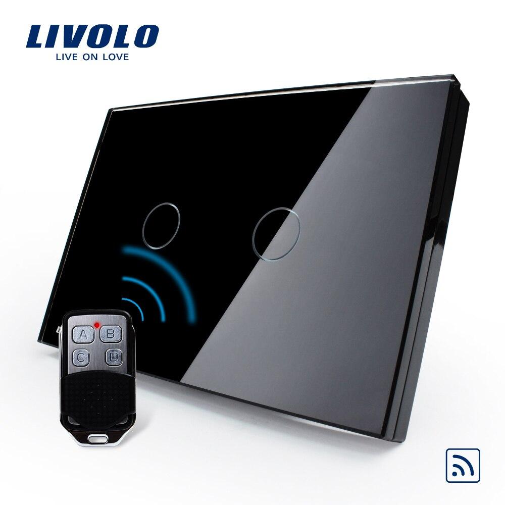 Livolo US/AU Standard, VL-C302R-82VL-RMT-02,  Waterproof  Black Glass 2 Gang 1 Way Switch&amp;Mini Remote<br>