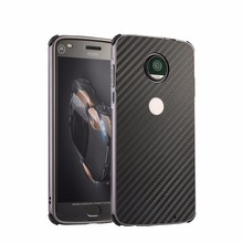 For Moto X4 Case Hard Metal Aluminum Bumper+  Carbon Fibre Panel 4 Corners Anticollision Rubber ARMOR Protect Shock Proof Hot