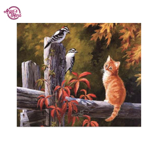"ANGEL'S HAND 3D DIY Diamond Painting Cross Stitch Diamond Embroidery round ""bird and cat"" Diamond Mosaic pattern Needlework gift"