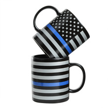Fashion New American US Old Glory Police Blue Line Mugs Painting Ceramic Cup Coffee Milk Tea Mug Drinkware Novetly Gifts 1pc(China)