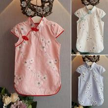 2016 NEW Designs children girls chinese style vintage cheongsam baby flower one piece dress for baby clothes