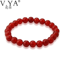 V YA Fashion Iron 8MM Red Bead Bracelets for Women Jewelry 19cm Elastic Cord Natural Red Stone Beads Fine Charm Bracelets PUB38