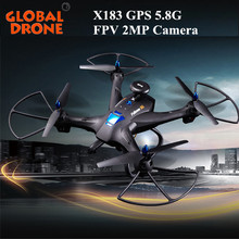 Dual GPS DRONE X183 Quadcopter 5.8G FPV 2MP Camera remote control toy rc helicopter GPS dron quadrocopter(China)