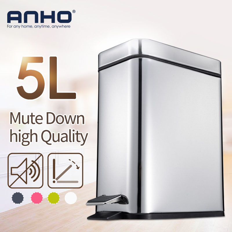 ANHO 5L Rectangle Bins Stainless Steel Rubbish Can Foot Pedal Type Dustbin Eco-friendly Bathroom Trash Can Kitchen Waste Bin(China)