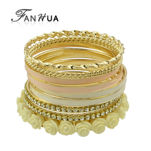 11pcs /set Bracelets & Bangles Sets for Women Top Selling Multilayer Rhinestone and Enamel Resin Flower Bracelets(China)