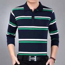 New 2017 autumn summer mens POLO shirt striped Long sleeves slim shirt men turn down casual breathable cotton polo shirt homme