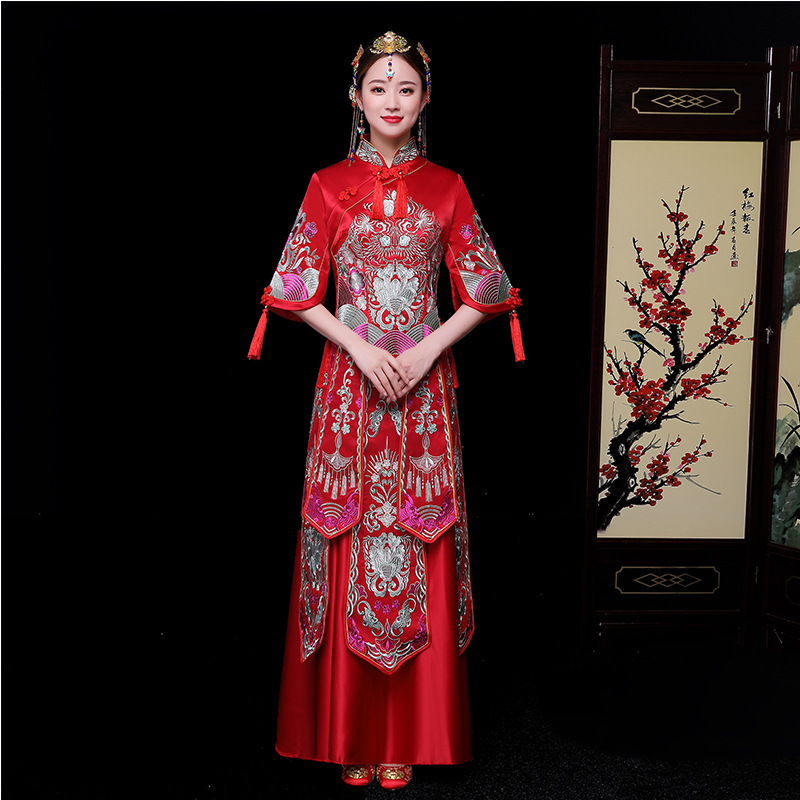2019 New Vintage Women Cheongsam Chinese Wedding Evening Party Dress High Quality Embroidery Marriage Suit Elegant Qipao S-XXL
