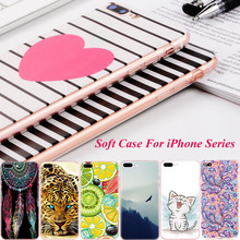 Colorful Painted Phone Case For iPhone 4 4S 5 5S SE 6 6S 7 Plus Soft TPU Cover Back Cases  Flower Floral Cartoon Animals Fruits