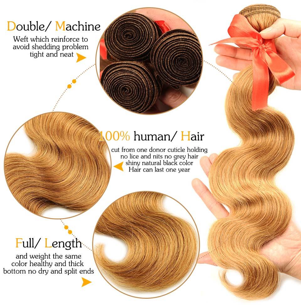 Pinshair 4 PcsPack Body Wave Hair Honey Blonde Brazilian Hair Weave Bundle Deals #27 100% Human Hair Extensions Non Remy Hair  (74)