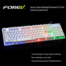 Forev FV-Q3A Gaming LOL CF Mechanical Keyboard LED colorful Switch Backlit Luminous wired keyboards for Windows/OS