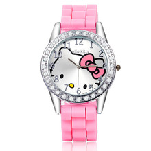 Korean fashion creative cartoon Kitty cat table silicone watch trend cute student watch female(China)
