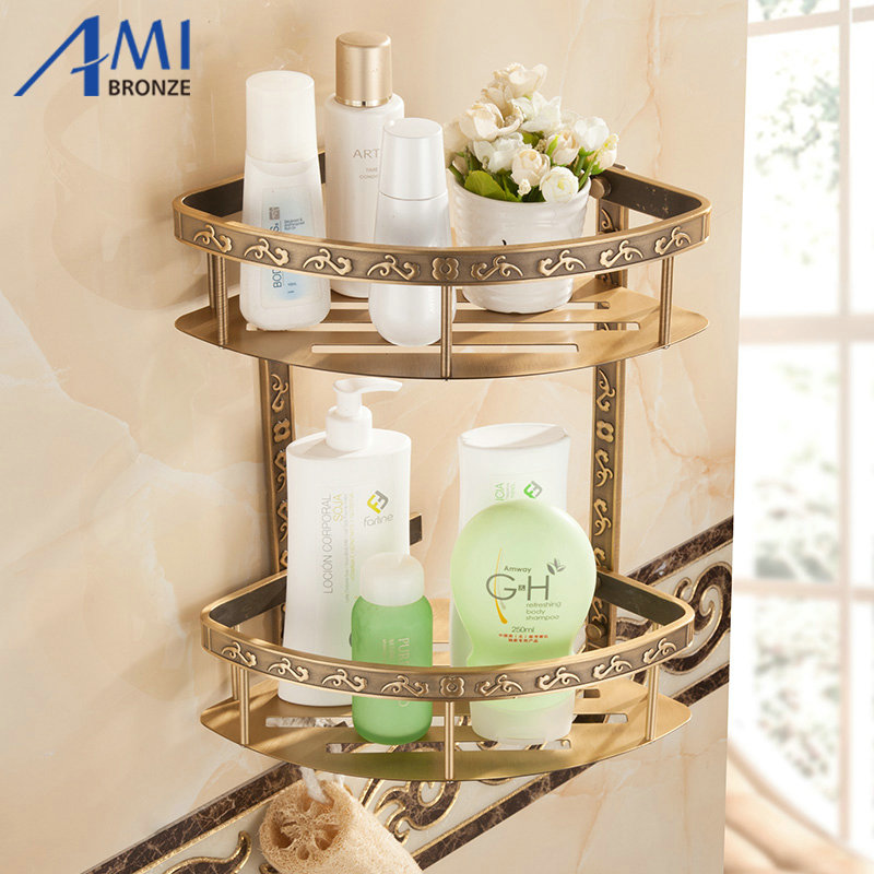 Fashion Antique Space Aluminum Bathroom Shelf Double Layer Corner Shelf Basket(China (Mainland))