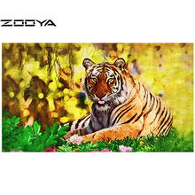 3D DIY Diamond Painting Wild Tiger Creative Gift Home Decor Rhinestones In Settings Hand Embroidery Cross Stitch AT477(China)