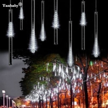 Tanbaby 30cm 8 Tube Meteor Shower Rain Tube Snowfall LED Light For Christmas Valentine Holiday Tree Garden Decoration