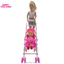 One Set New Pink Assembly Baby Stroller Trolley Nursery Furniture Toys Accessories For Barbie Kelly Size Doll 1 : 12 Puppet Gift(China)