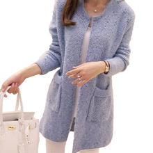 Women Spring Autumn Mid Length Sweater Long Sleeve Cardigan Slim Pocket Loose Knit(China)