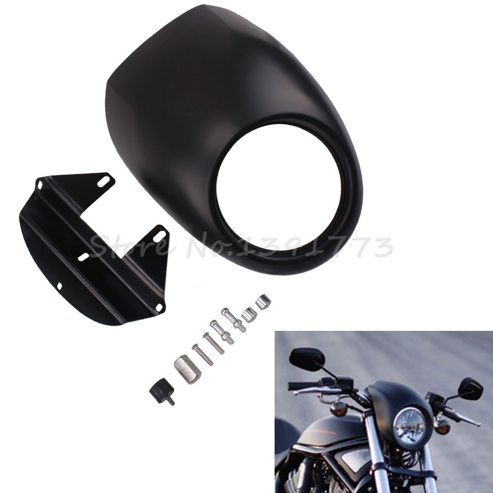 Black Headlight Visor Fairing Cool Mask for Harley Front Fork Mount Sportster Dyna FX/XL Glide Free Shipping<br><br>Aliexpress