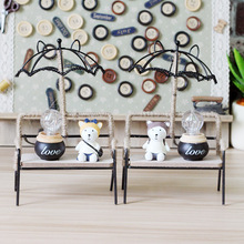 Cafe Romantic Creative Gift Decoration Home Furnishing Student Single Dog Iron Bench Umbrella Nightlight