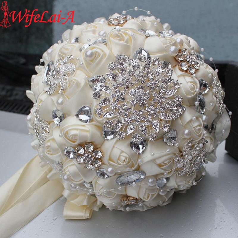 Best Selling Ivory Cream Brooch Bouquet Wedding Bouquet de mariage Polyester Wedding Bouquets Pearl Flowers buque de noiva PL001(China (Mainland))