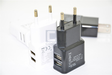 Fast Charger real 2A E.U Dual USB Wall Adapter Charger For Samsung Galaxy S6 Edge S5 NOTE4,5.0V 2.0 amp Charger(China)