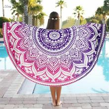 ISHOWTIENDA Round Beach Cover Up Bikini Boho Summer Dress Swimwear Bathing Suit Kimono Tunic Camping Towel Serviette De Plage
