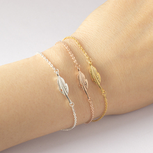 DIANSHANGKAITUOZHE Bracelet Femme 2016 Jewelry Vintage Pulseras Gold Colour Silver Simple Leaf Feather Bracelet For Women(China)