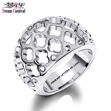 DreamCarnival 1989 Customize Stainless Steel Ring for Men Women Hollow Flowers Anillos Mujer Unisex Bague Engrave Your Logo Name(China)