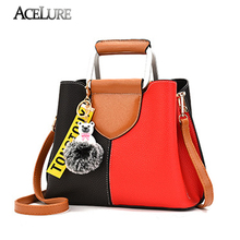ACELURE Fashion Patchwork Casual Tote Bag Women Metal Handle Handbags Brand Tide Women Leather Shoulder Bag Crossbody Bag Bolsa(China)