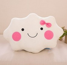 Enipate Smiley Face Bow Cloud 100% Cotton Stuffed Back Cushion Seat Cushion Plush Toy Couple Lovers man&women Home cloud Pillow