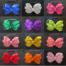 "Hand Customize Free Shipping 14pcs Three layers of flower petals clamp Woven Headband 4.5-5"" Angel Wing Bow One Layer Overlay"