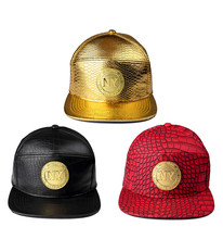 Hot street Golden PU Leather New York Baseball caps gorras snapback Men Women Rhinestone Crocodile NY hip hop hats