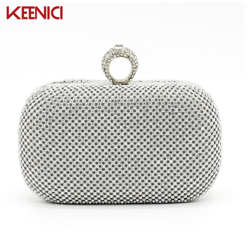 KEENICI Rhinestones Women Clutch Bags Diamonds Finger Ring Evening Bags for Lady Crystal Wedding Bridal Handbags Purse Holder<br><br>Aliexpress