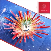 Fashion 3D Pop Up New Year Fireworks Greeting Card Christmas Birthday Invitation Nov17(China)