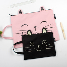 Hand-painted cat Waterproof zipper File Folder Bag Office Supplies Organizer Bag Cartella  Archivador Documentos Organizer