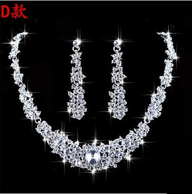 High Quality Silver Luxury Oversize Crystal Wedding Jewelry Sets Hollow-out Flower Necklace&Earrings Set For Woman (2)