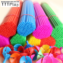 10 Sets 40cm Latex Balloon Stick Colorful PVC Rods Balloon Holder Sticks With Cup Birthday Party Decoration Supplies Accessories(China)