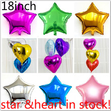 "5 pcs/lot 18"" Inch/ 45*45CM Foil Star Balloon mixed heart ballon - Helium Metallic globos for Wedding/birthday supplies"