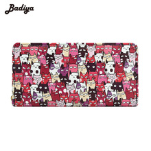 Badiya Cartoon Dog Print Long Wallet For Women Brief Design Men Wallet Long Business Card Holder Ladies Phone Pocket Purse