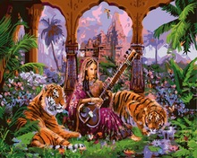 Frameless painting by numbers paint by number for home decor  PBN for living room 4050 tiger in music