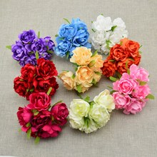 cheap silk rose 6pcs Artificial flower Bride bouquet for Wedding car Decoration Scrapbooking DIY wreaths craft Handmade gift box(China)